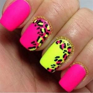 Animal Print Nails cheetah hot pink neon yellow | Nails ...