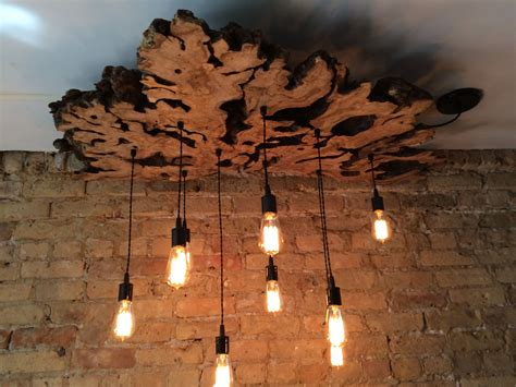 modern industrial floor l hand made live edge olive wood chandelier with edison