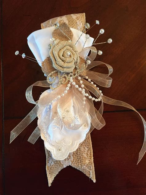 s corsage for bridal shower burlap lace handkerchief that can disassemble and