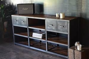 meuble tv de style industriel micheli design With meuble tv sur mesure design 16 bahut industriel 3 portes bois massif metal micheli design