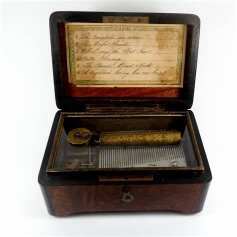 The album exterior is a blue green felt with a mirror and trimmed out. Beautiful Antique Victorian Cylinder Music Box Playing 6 Scottish Airs With Original Key C1870 ...