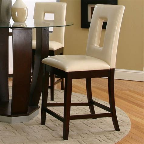 kitchen counter stools contemporary emerson counter height dinette with ivory vinyl chairs 6640