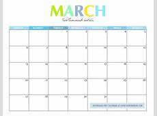 March 2018 Calendar Cute 2018 calendar with holidays