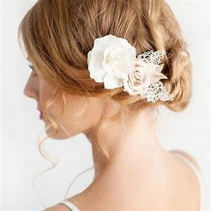 Rose Hair Piece Ivory Gold Bridal Hair Piece Bridal Flower
