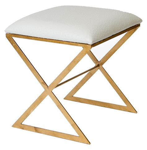 white and gold ottoman chi hollywood regency gold white ostrich stool ottoman