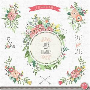 wedding clipart pack wedding floral vintage With wedding invitation framed with flowers