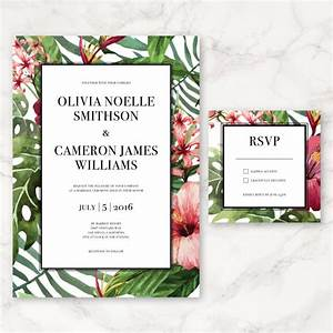 printable wedding invitation watercolor tropical flowers With free printable tropical wedding invitations