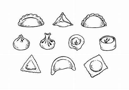 Dumplings Vector Dumpling Drawing Drawn Hand Dim