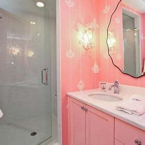 pink bathrooms bathroom pink and subway tile showers on