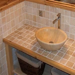 dalles carrelage travertin clair 10x10 indoor by capri With masquer carrelage salle de bain