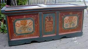 Original Bemalte Barock Truhe Hohenlohe Datiert 1793 Mit