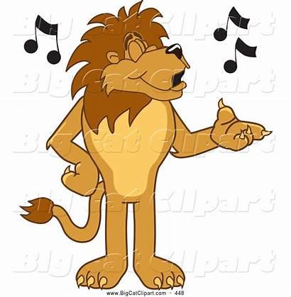 Lion Singing Happy Cat Cartoon Notes Clipart