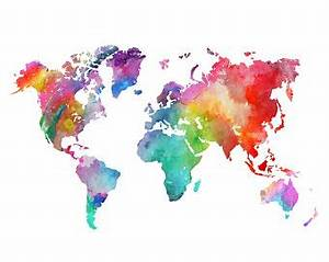 Watercolor painting etsy world map poster etsy gumiabroncs Gallery
