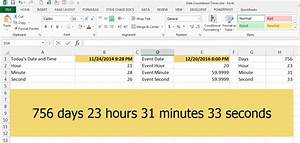 Excel countdown timer formula