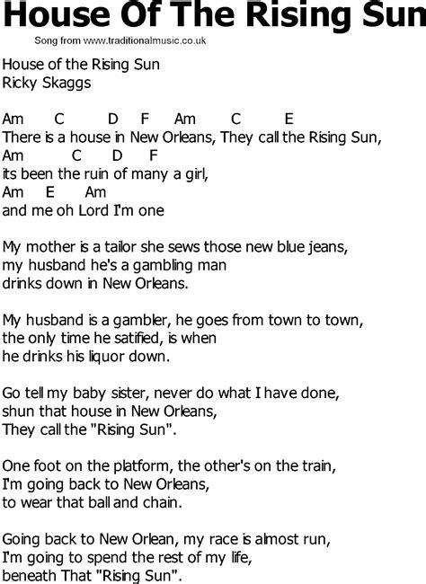 country song lyrics  chords house   rising sun