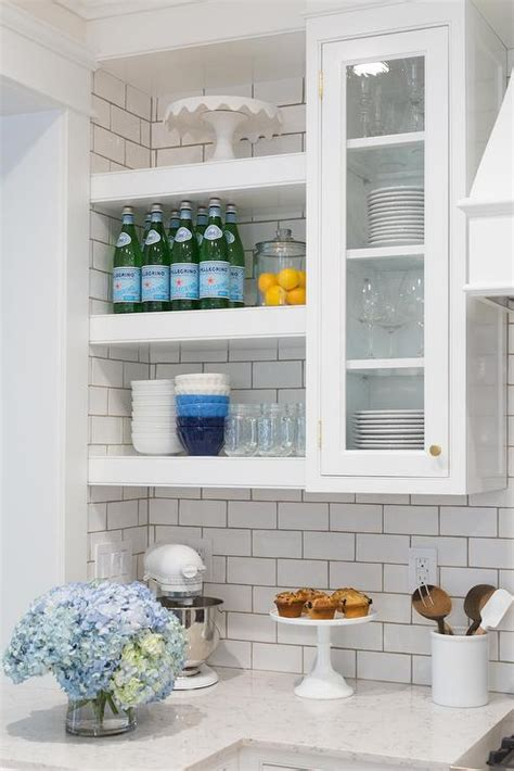 Floating Glass Cabinet - kitchen with gray subway tiles design ideas