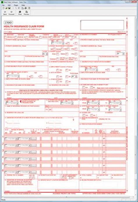 Free Cms 1500 Claim Form Template by Cms 1500 Health Claim Form Software 69