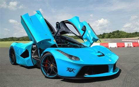 ferrari laferrari rendered  baby blue