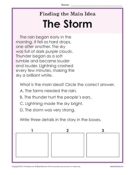 finding the main idea worksheets 3rd grade resources for work reading worksheets main idea