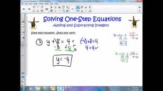 solving one step equations adding subtracting integers