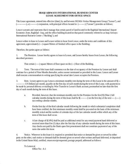 sample commercial lease form   documents