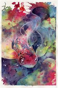 Watercolor Koi Fish Drawings
