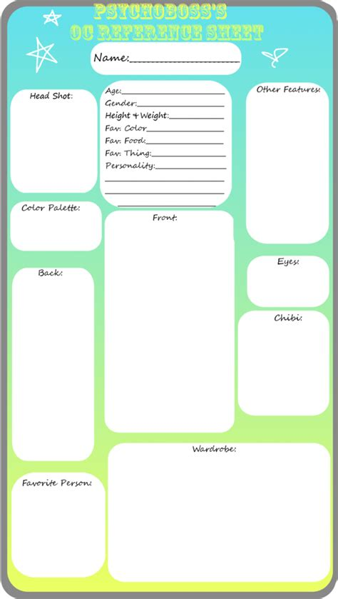 oc template blank oc reference sheet by psychoboss on deviantart