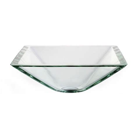 Kraus Vessel Sinks Home Depot by Kraus Square Glass Vessel Sink In Clear Gvs 901 19mm The