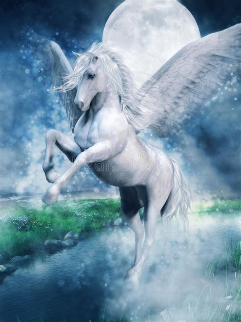 white pegasus   lake stock illustration illustration