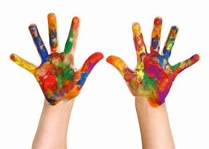Child Hands Hand Painting Painted Crafts Displaying