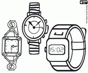 ausmalbilder drei arten von armbanduhren zum ausdrucken