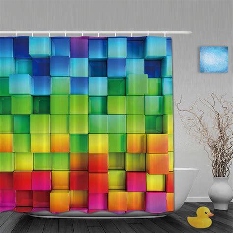 3d printing bathroom shower curtains rainbow square shower