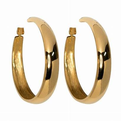 Earrings Hoop Clip Gold Tapered Pierced Polished