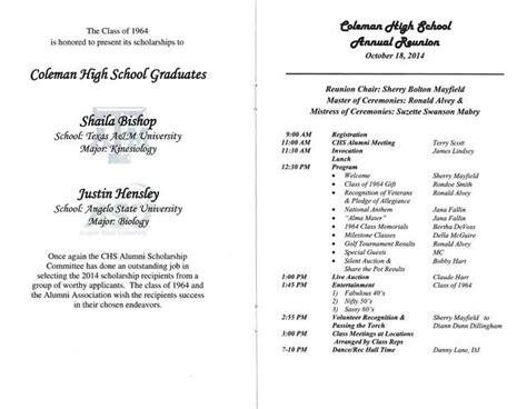 Sample Banquet Programs Capable Addition 20 Reunion 20