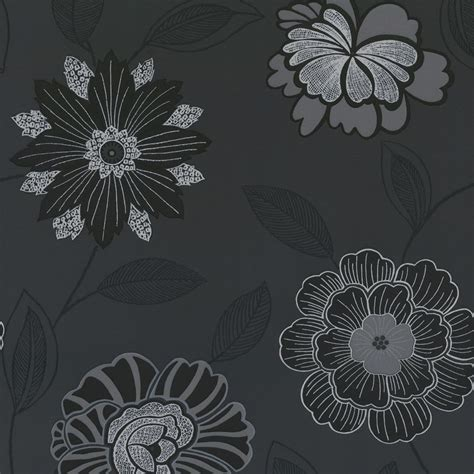 buy crown sapphire floral wallpaper black charcoal silver