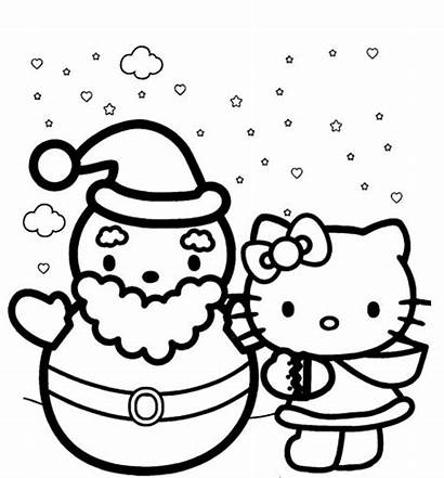 Coloring Winter Pages Kitty Hello Themed Colouring
