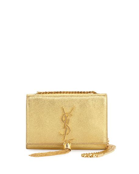 saint laurent monogram small kate metallic tassel
