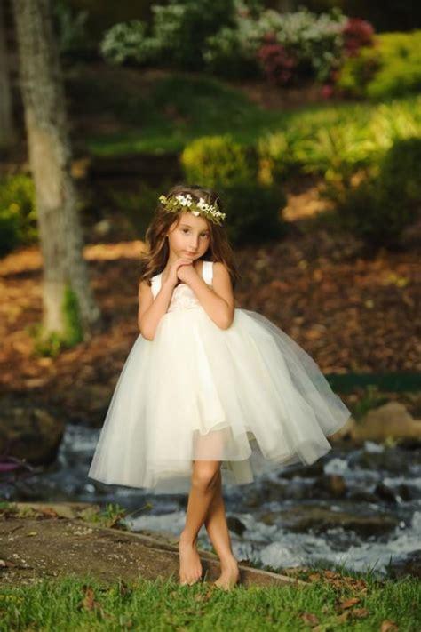 Flower Girl Dress Burlap And Lace Wedding Woodland Fairy