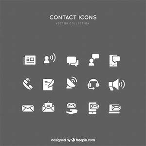 White contact icons collection Vector | Free Download