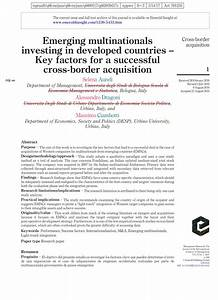 (PDF) Emerging multinationals investing in developed ...