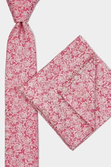 Gamis Set Pink moss bright pink tonal tie pocket square set