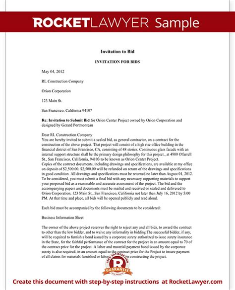 Invitation To Bid Letter Template (with Sample