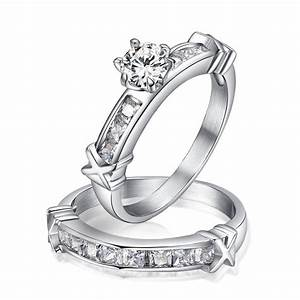 2pcs set white cz diamond engagement ring stainless steel for Cz wedding rings for women