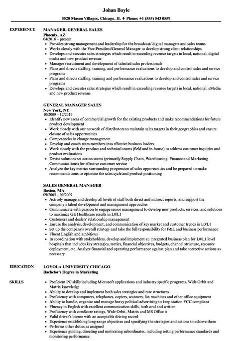 General Manager Resume by General Manager Sales Resume Sles Velvet