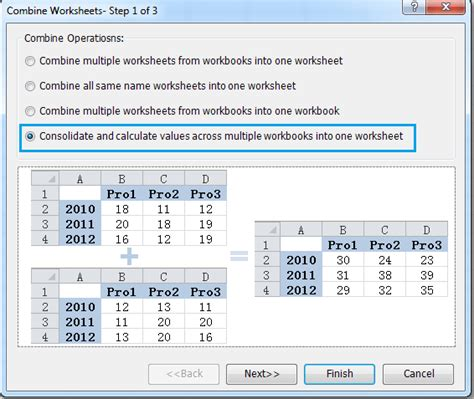 consolidate data from worksheets in a single