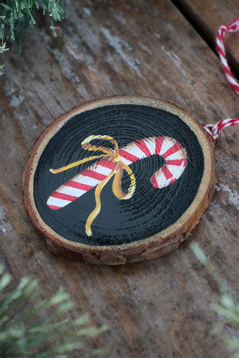 candy cane  ribbon hand painted wood slice ornament
