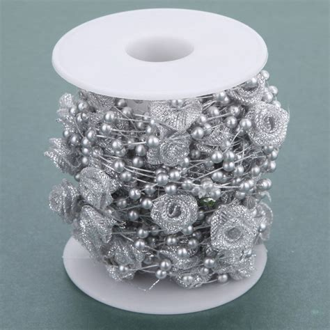 Pearls For Decoration - 10m flower ribbon pearls chain garland home