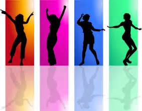 Colorful Women Dancing Silhouette