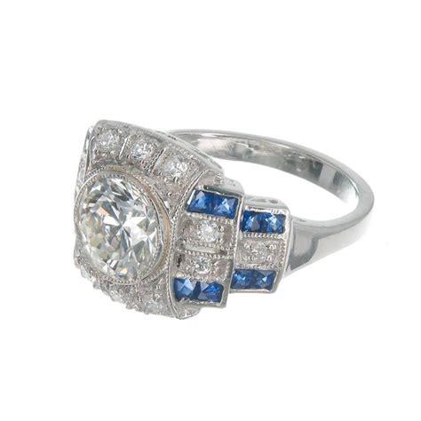 diamond sapphire platinum engagement ring for sale at 1stdibs