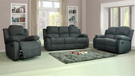 Settee Suites by Recliner Sofas Fabric 3 2 1 Charcoal Or Light Grey 3